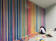rainbow dripping paint mural wall