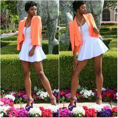 Purely Fun Ladies White Mini Skater Skirt Model is 6'1.         92% Polyester 8% Spandex Boutique Skirts Circle & Skater