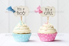 Baby shower cupcakes. Pink & Blue It's a Boy / Girl. Ideas for baby shower cupcake decoration. Stock photo.