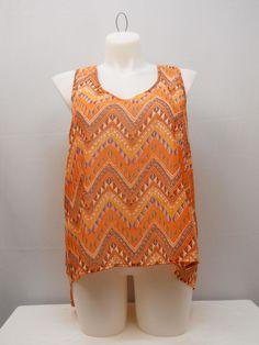 Top Plus Size 2X MILEAGE Women's Orange Geometric Split Back Sleeveless Pullover #MILEAGE #TankCami #Clubwear