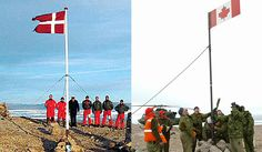 Hans island, Canada/Denmark.  There is an island which is disputed territory between Canada and Denmark. The militaries of both countries periodically visit to remove the other guy's flag and leave a bottle of Danish schnapps or Canadian whiskey.