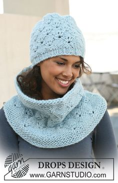 """Set comprises: DROPS knitted Basque hat and neck warmer with pattern in """"Eskimo"""". ~ DROPS Design Drops Design Sugar Water / DROPS - Free knitting patterns by DROPS Design Drops Design, Knitting Patterns Free, Knit Patterns, Free Knitting, Débardeurs Au Crochet, Crochet Hats, Knitted Beret, Knit Basket, How To Purl Knit"""