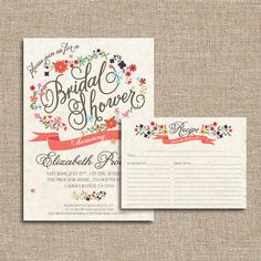 Bridal Shower Invitation Set, Posy Potpourri. Listing is for the digital files only. Matching backs can be added for an additional 5 dollars on Etsy, $25.00