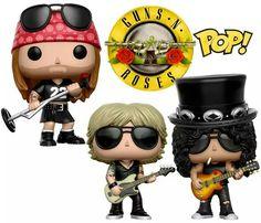 Bonecos Pop! Guns N' Roses: Axl Rose, Slash e Duff McKagan