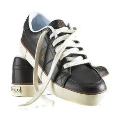 Polo Ralph Lauren Mens Classic Horald Leather Sneaker Black