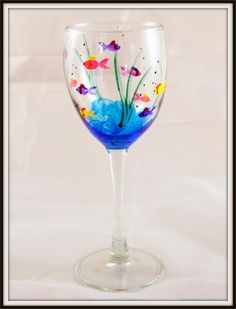hand painted wine glasses ideas | Hand Painted Fish Wine Glass | Glass Paradox
