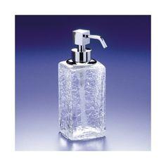 Soap Dispenser, Windisch 90412, Squared Crackled Crystal Glass Soap Dispenser 90412