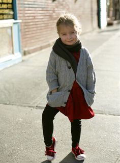 grey and red, fall kids style