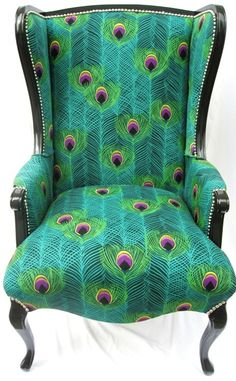 Love the peacock fabric designed by mrs Bowie, Iman