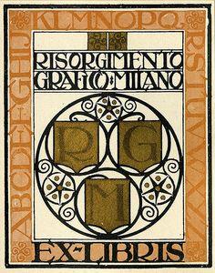Italian vintage bookplate. #Ex-líbris da revista italiana Risorgimento Grafico | Colecção Pratt Librarie #exlibris
