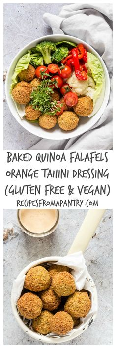 Awesome Baked Quinoa Falafels With An Orange Tahini Dressing | Recipes From A Pantry