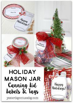 Holiday Mason Jar Canning Labels and Tags: Cute gingham canning labels and mason jar tags, great for Christmas gift giving!