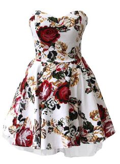 White Strapless Floral Ruffles Bandeau Dress pictures
