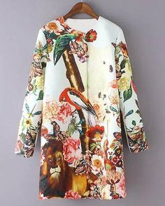 Stylish Women's Round Neck Animals Pattern Long Sleeve Coat