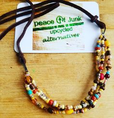 GRAFFITI SEED BEAD BROWN LEATHER NECKLACE / Peace of Junk