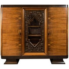 Walnut and Oak Three-Door Armoire from Germany, 1930s-1940s