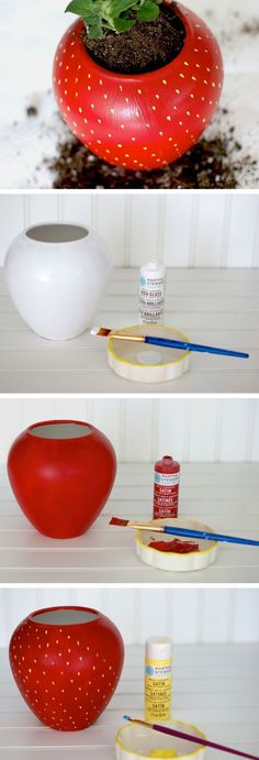 DIY Painted Strawberry Herb Planter   DIY Home Decor Ideas on a Budget   DIY Home Decorating on a Budget