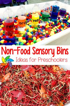 This visual directory of non-food sensory bin ideas for preschoolers will help teachers plan the bin filler, accessories, and learning objectives.