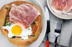 Serrano Ham, Manchego, and Asparagus Breakfast Pizza