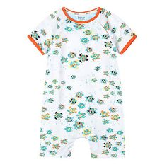 17c5d2a6a669 Baker by Ted Baker Babies white geometric turtle romper suit