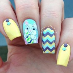 Blue and Yellow Easter Nail Design