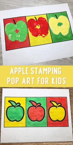 Apple stamping pop art for kids inspired by Andy Warhol. An easy apple craft for a fall theme. Pop Art For Kids, Crafts For Kids To Make, Kids Crafts, Cool Art Projects, Projects For Kids, Art Activities For Kids, Apple Activities, Activity Ideas, Famous Artists For Kids