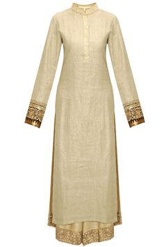 Beige shimmer kurta with sequins embroidered pants available only at Pernia's Pop-Up Shop.
