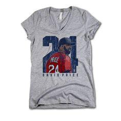 David Price MLBPA Officially Licensed Boston Womens V-Neck S-2XL David Price Clutch B