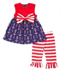 541095589 Red   Blue Anchor Stripe Ruffle Tunic   Capri Pants - Newborn
