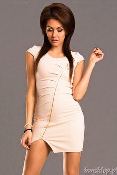 Sukienka z suwakiem w poprzek... #Sukienki - http://bmsklep.pl/emamoda-sukienka-kremowy-6502-2