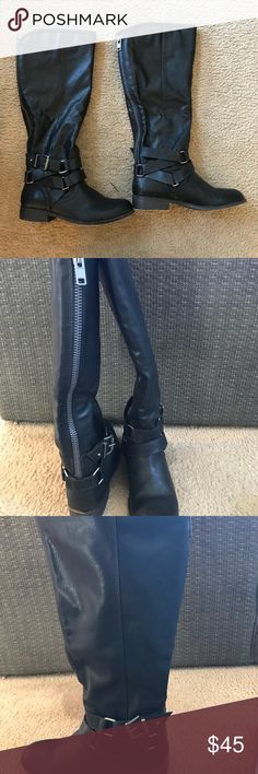 Black Madden Girl Boots Size 9 These Black Madden Girl Boots have only been worn once! I'm selling just because they are not right size and these cute boots deserve to be worn! Madden Girl Shoes Combat & Moto Boots