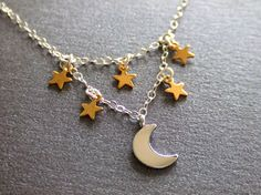Moon and the Stars Jewelry Necklace, Sterling Silver Chain, Golden Stars, Constellations, Shooting Star, Starry Night, Gift for Her on Etsy, $26.00