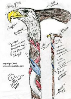 Design Sketches for an American Eagle Carved Walking Cane for an Injured Iraqi War Air Force Veteran - by Mark A. DeCou @ LumberJocks.com ~ woodworking community