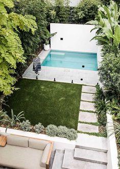 Backyard Pool Landscaping, Backyard Pool Designs, Small Backyard Landscaping, Backyard Ideas, Pool In Small Backyard, Garden Ideas, Small Swimming Pools, Swimming Pools Backyard, Pool Landscape Design