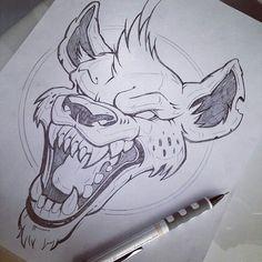 Possessed vicious hyena tattoo design