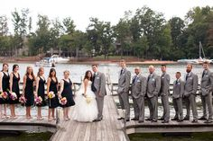 black bridesmaid dresses grey suits | Wedding party picture, Grey groomsmen suits, Men in grey suits