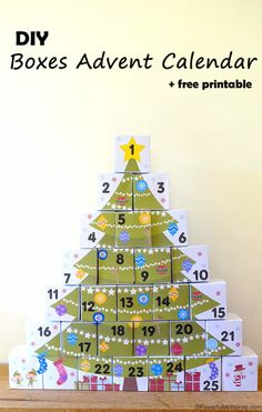 "DIY Boxes Advent Calendar with Free Printable. Can be reused & large enough to fit ""treats"" into."
