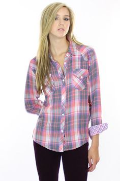Rails Kendra Plaid Button Down Shirt in Pink/Grey - On Sale!