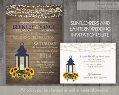 sunflower wedding invitation rustic lantern by notedoccasions - Lantern Wedding Invitations