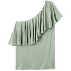 Leon vest top ❤ liked on Polyvore featuring tops, ruffle tank top, tall tank, green tank top, green ruffle top and frilly tops