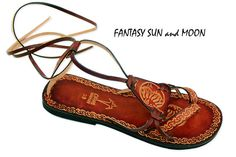 Marrón bronceado cuero encaje hasta sandalias planas por Calpas