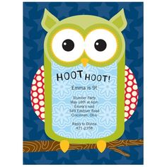 Owl Birthday Invitation - Hoot The Owl!
