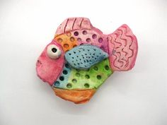 clay fish, Artsonia Art Museum :: Artwork by Kendall845, (painted with tempera cakes)