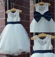 2015 rustic Ivory Lace Navy blue sash/bow Flower Girl Dress White Country Toddle