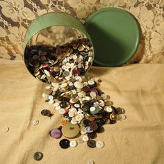 Old Button Collection in seafoam green tin box by RaggedyRee