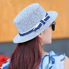 Cheap bow straw boater hat for girls summer beach sun hats 4d8bddc131f4