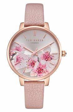 See the Women's Ted Baker London Kate Leather Strap Watch, Browse women's Pink Watches. Fancy Watches, Trendy Watches, Cute Watches, Elegant Watches, Beautiful Watches, Cool Watches For Women, Ted Baker Watches, Pink Watch, Accesorios Casual
