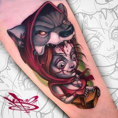 Red Riding Hood Tattoo, American New School Cool Chest Tattoos, Cool Tattoos For Guys, Love Tattoos, Tatoos, Tatuajes New School, Desenho New School, Usa Tattoo, Tattoo Ink, Tattoo Designs