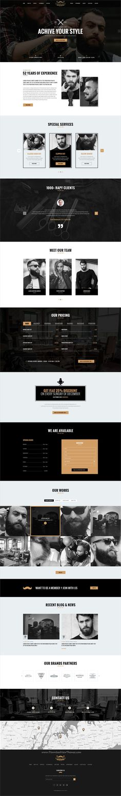 Barber is clean and modern design PSD template for onepage #saloon, #hairstyle and #barbershop stunning website download now..