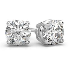 Platinum 3/4 Carat Diamond Stud Earrings ($1,925) ❤ liked on Polyvore featuring jewelry and earrings